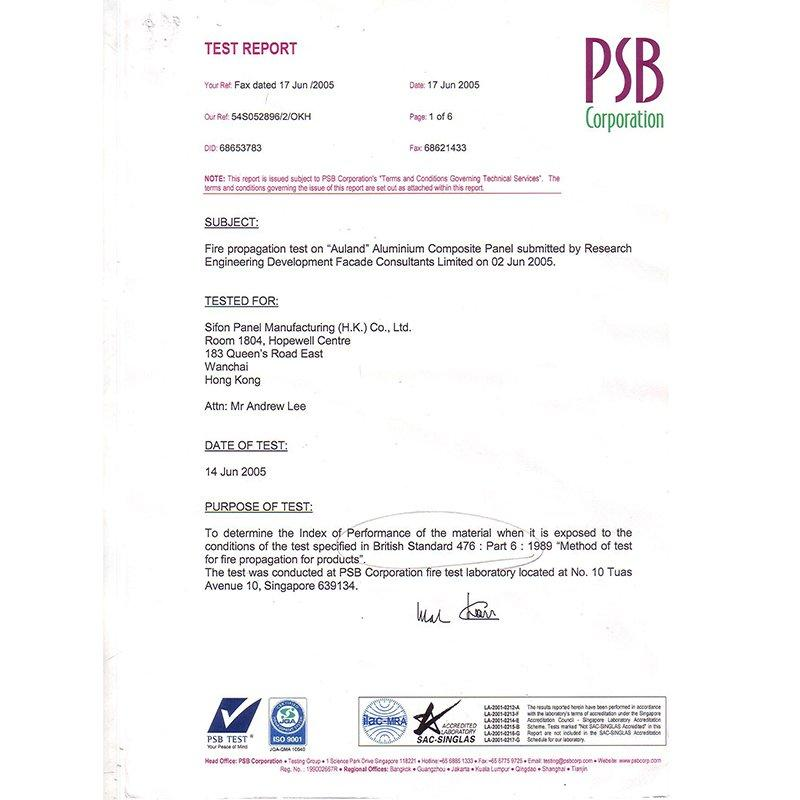 PSB-BS 476 Fireproof Test Report