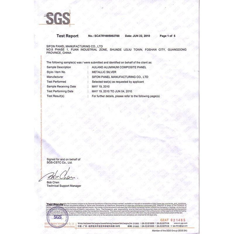 SGS-Exterior Aluminum composite panel ASTM Report
