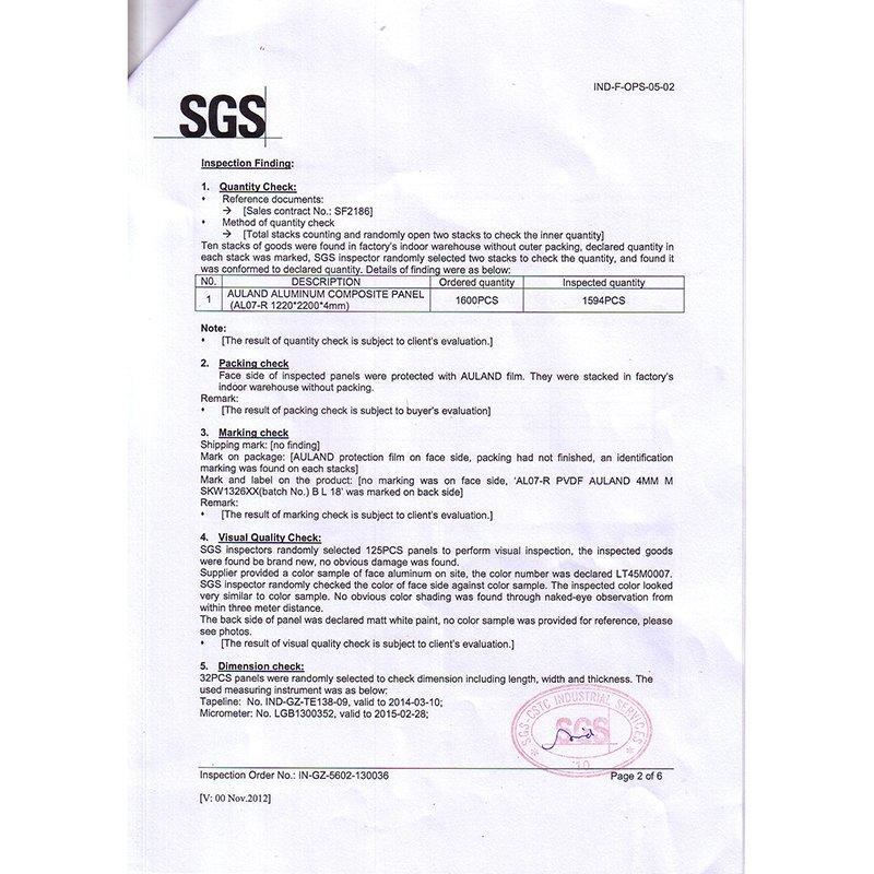 SGS-Inspection Test Report