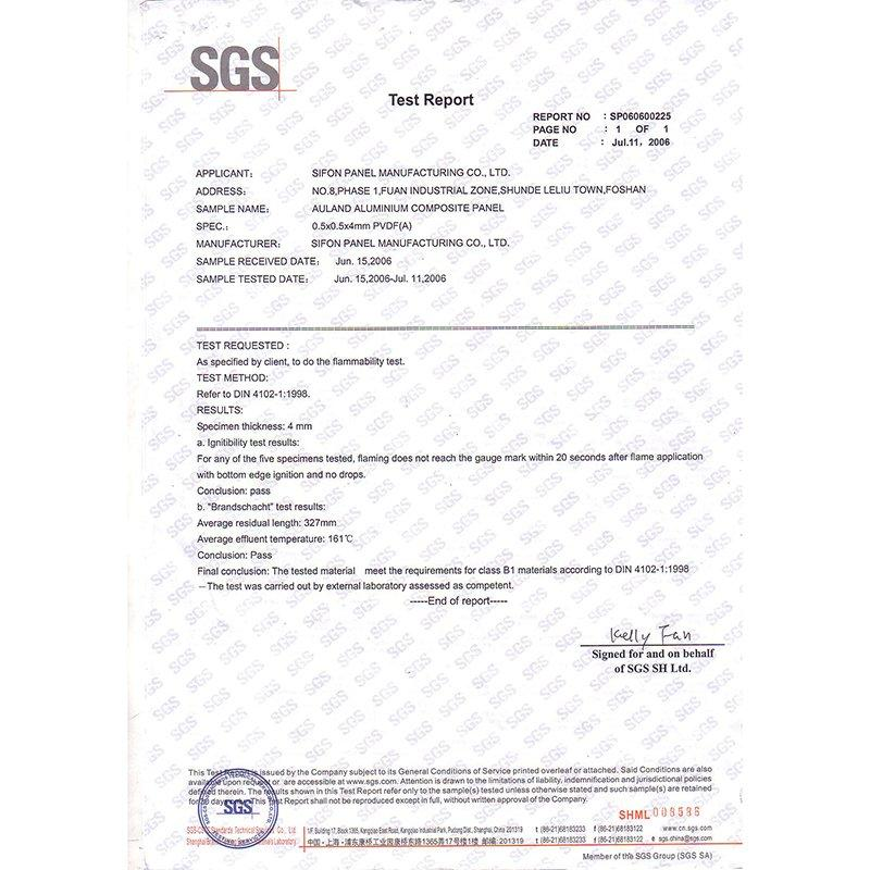 SGS-DIN 412 Fireproof Test Report