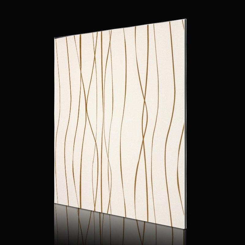 SF714G01-AB Fashion Waves Gold Lines acp sheet cladding